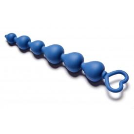 Синяя анальная цепочка Heart Ray - 17,5 см.